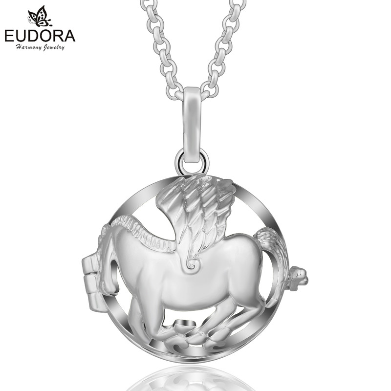 Eudora 20mm Harmony Bola Ball Running Horse Diffuser Lockets Women Angel Caller Cage Pendants Necklace For DIY Jewelry Gift