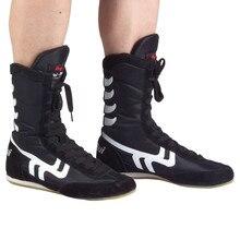 Высокое качество борцовка обувь Высокая талия боксерки корова мышцы подошва дышащая про Экипировка для борьбы для детей