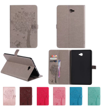 Flip Cowl For Samsung Galaxy Tab A 10.1 2016 T585 T580 T580N Pill Instances Cat and tree Print Stand Cowl With Card Holder