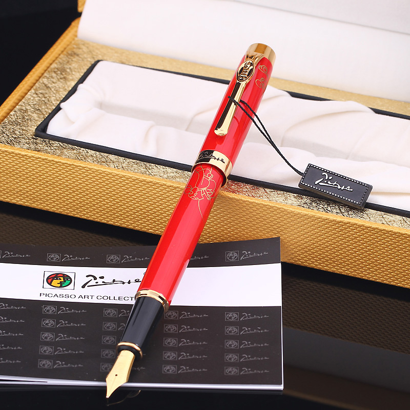 High Quality Office Accessories Pimio 933 Red and Gold Clip Metal Founain Pen with 0.5mm Iridium Nib for Christmas Gift Ink Pens high quality monte mount snake clip f nib metal office gift fountain pen