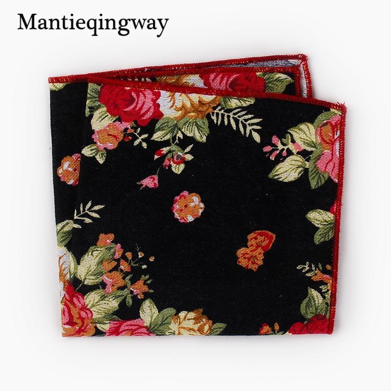 Mantieqingway High Quality Men's Floral Printed Handkerchief Groomsmen Men Pocket Square Cotton Hanky Business Chest Towel