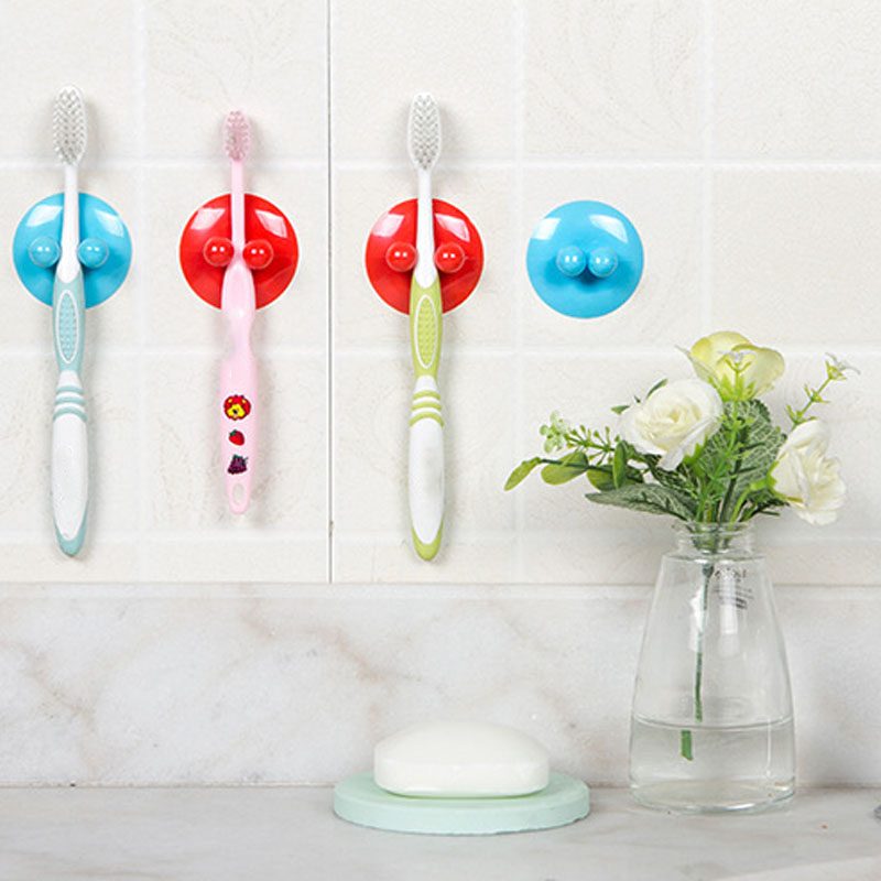Kitchen Supplies Hanging Hook 2 Pcs Suction Cups Multifunction Vacuum Sucker Hooks UFO Shape Plastic Bathroom Accessories