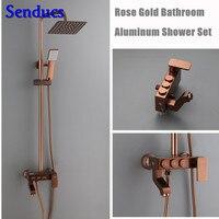 Senducs Space Aluminum Bathroom Shower Set Rose Gold Bathroom Shower System Suqare Rain Shower Head Quality Aluminum Water Tap