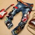Outono inverno Moda do Desenhador Dos Homens Do Punk Rock Lantejoulas Patchwork Denim Calças, primavera Ocasional À Moda do Homem Calças Jeans Macho