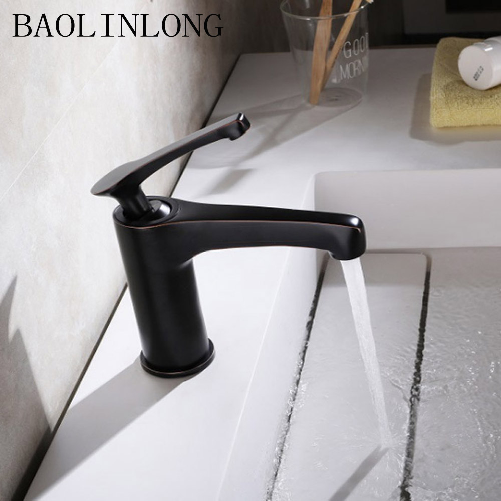 BAOLINLONG Antique Black Brass Deck Mount Basin Faucets Vanity Vessel Sinks Mixer Bathroom faucet tap