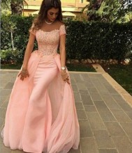 2015 Pink Long Chiffon Lace Mermaid Evening Dresses Evening Gowns Detachable Train Formal Dress Long robe de soiree prom dress