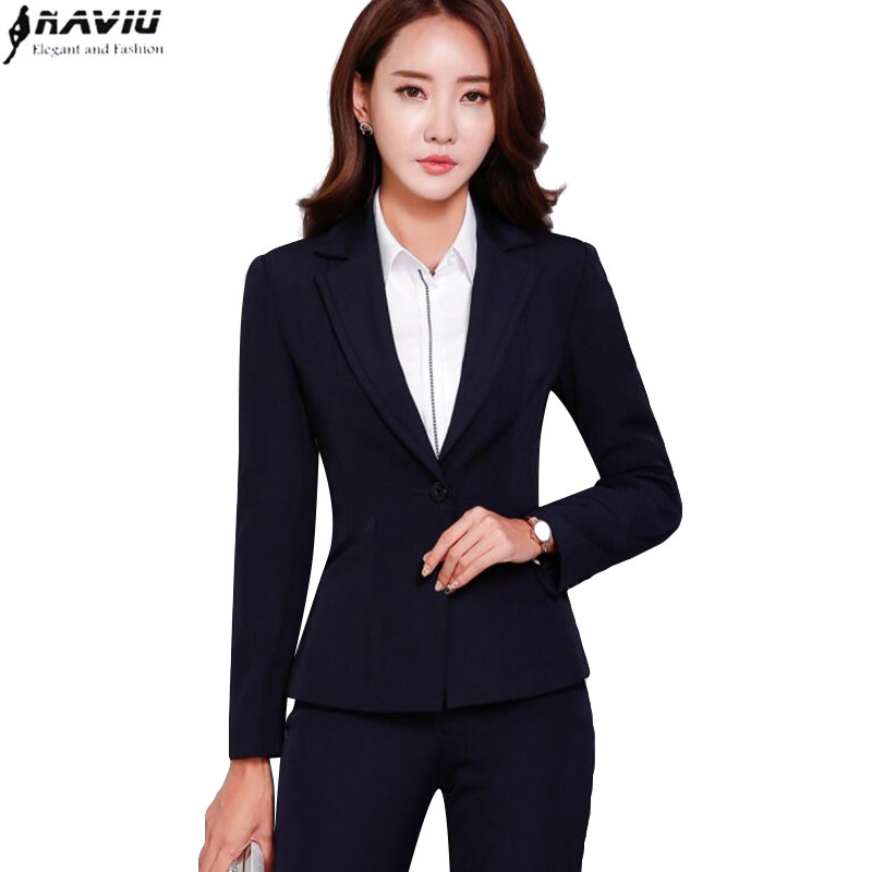 Professional women pants suit fashion business formal slim long sleeve blazer with trousers office ladies plus
