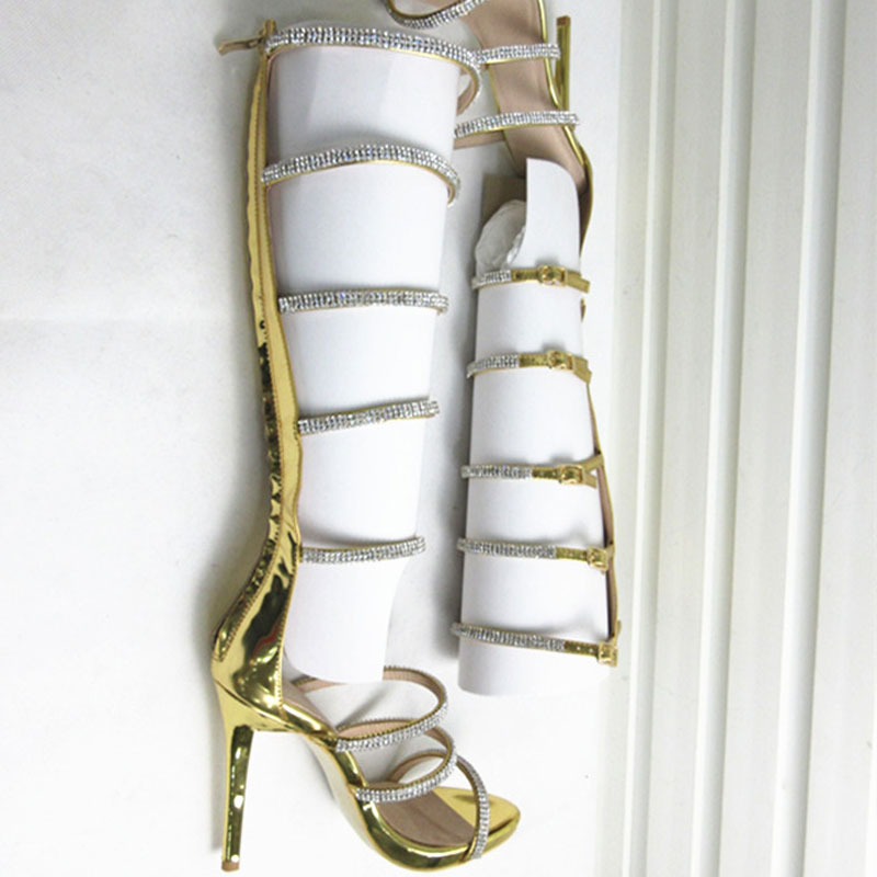 Roni Bouker Woman Summer Rhinestone Embellished Gladiator Sandals Female  Peep Toe Knee High Boots Lady Strap High Heels Big Size-in High Heels from Shoes  on ... 41a8beeebf9d