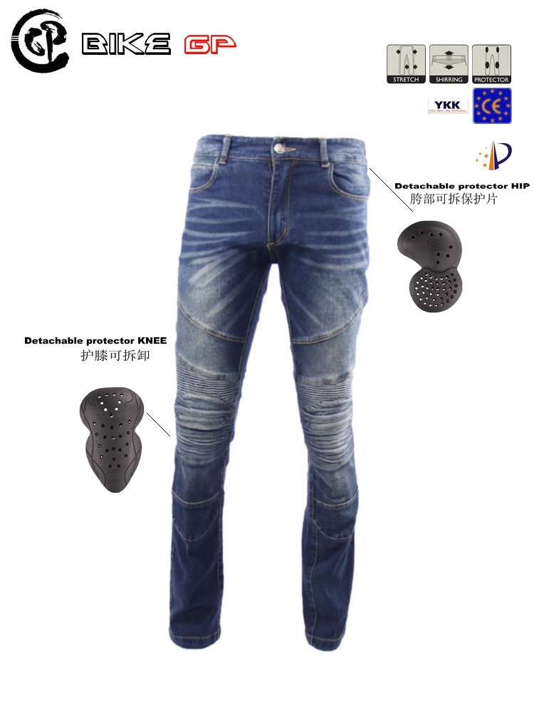 Original BIKE GP gpp01 motorcycle jeans pants popular brands riding casual send 4 protectors  blue