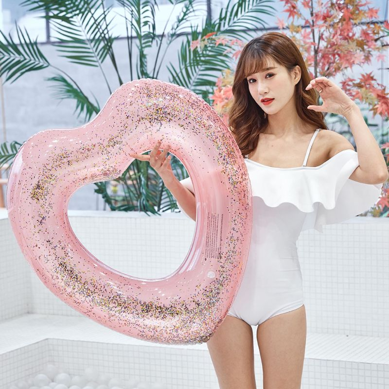 Glitter Heart Pool Float Inflatable Swimming Tool Girls Beach Toy For Get A Tan Pool Party Photo Props