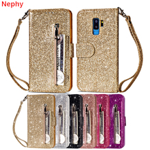 Glitter flip Leather wallet Cell Phone Case for Samsung galaxy S8 S9 Plus S7 S6 Edge Note 8 9 A5 2017 A6 J4 J6 2018 duos Cover