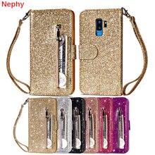 Glitter flip Lederen portemonnee Mobiele Telefoon Geval voor Samsung galaxy S8 S9 Plus S7 S6 Rand Note 8 9 A5 2017 A6 J4 J6 2018 duos Cover