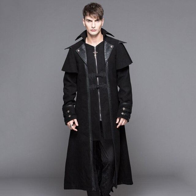 ce677e694 Devil Fashion Steampunk Autumn Winter Men's Gothic Long Jackets Punk Black  Turn-down Collar Fashion Overcoats Handsome Jackets