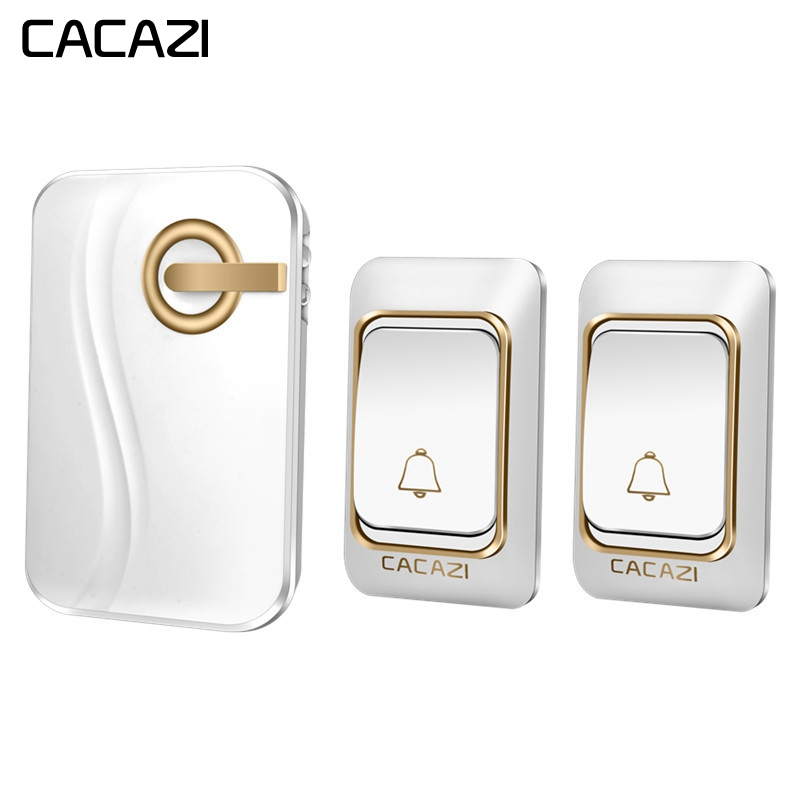 CACAZI Wireless Doorbell Waterproof DC Battery Operated 200M Remote 2 Button 1 Receiver Smart Home Cordless door bell 36 ChimesCACAZI Wireless Doorbell Waterproof DC Battery Operated 200M Remote 2 Button 1 Receiver Smart Home Cordless door bell 36 Chimes