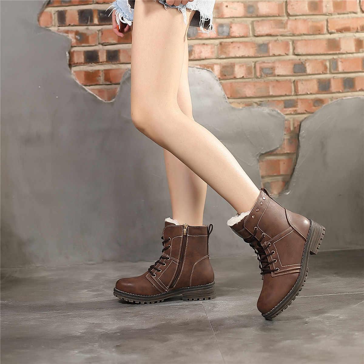 CAILASTE Klasik kadın kış ayakkabı Kahverengi Perçin dekorasyon Dantel up ZIP Sıcak kürk peluş astarı Ayak Bileği yürüyüş martin çizmeler bayanlar