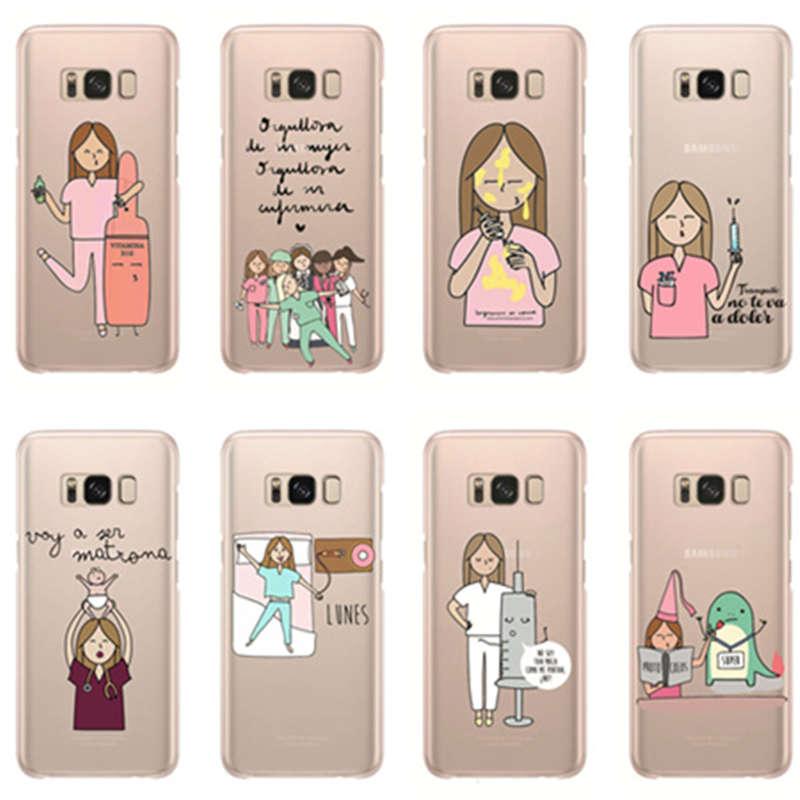 Spain Cartoon Nurse Doctor Soft Clear Transparent Phone Case For Samsung S6 Edge Plus S7 S7edge S8 S9 Plus Note8 Note9 Cover Half-wrapped Case Cellphones & Telecommunications