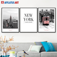 AFFLATUS New York City Bus Painting Nordic Posters And Prints Wall Art Canvas Pictures For Living Room Decor