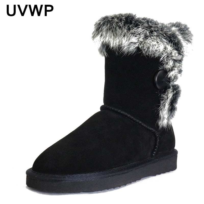 UVWP Women's Fashion 100% Genuine Leather Warm Winter Boots Snow Boots Natural Rabbit Fur Boots Women Boots Shoes Free Shipping