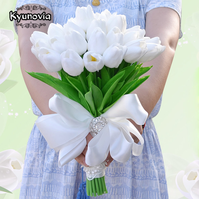 Kyunovia Artificial flower Mini Tulips Centerpieces Real Touch Silk ...