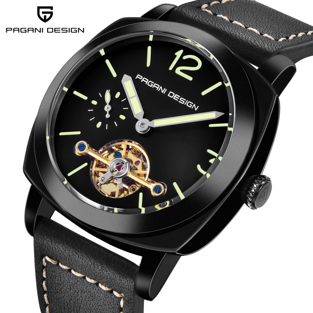 Luxury Brand PAGANI DESIGN Men Automatic Watch Leather Waterproof Business Mechanical Tourbillon Watches Men Clock Reloj Hombre