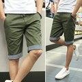 Verão Novo 2016 Homens Shorts Xadrez Ruched Vestido Casual Algodão Slim Fit Shorts Homens Plus Size M-3XL