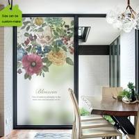 Wide 70 High 100cm Static Glass Window Film Stained Decorative Privacy Window Films Peony Flower Size Customized