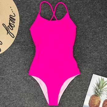 Sexy One Piece Swimsuit Black Monokini Backless Trikini Swimwear Women Bikinis Thong Triquini Female Bandage Bathing Suits 7