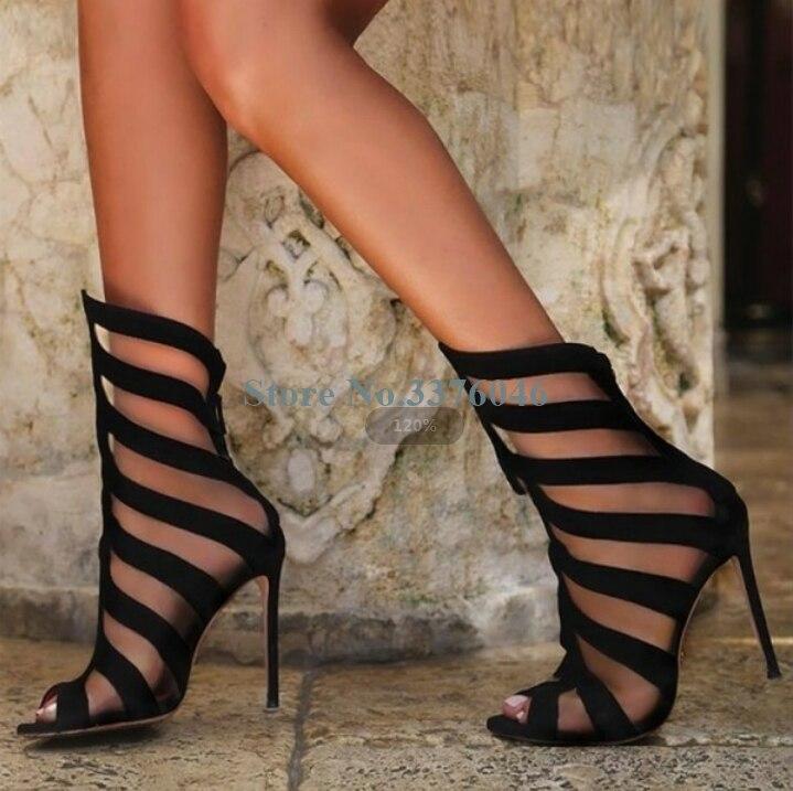 Dehors Peep Suede Picture Creusent Sandales Toe Noir Chaussures À Daim Hauts Aiguille Mince En Talons Zipper Retour Talon Gladiateur As Femmes Pour rqqwEg