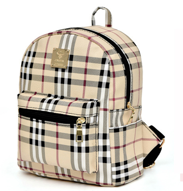 PU leather mini lady shoulder plaid backpack girl check small leisure  bagpack use as school backpack (S25-10) 3868ac69f4a26