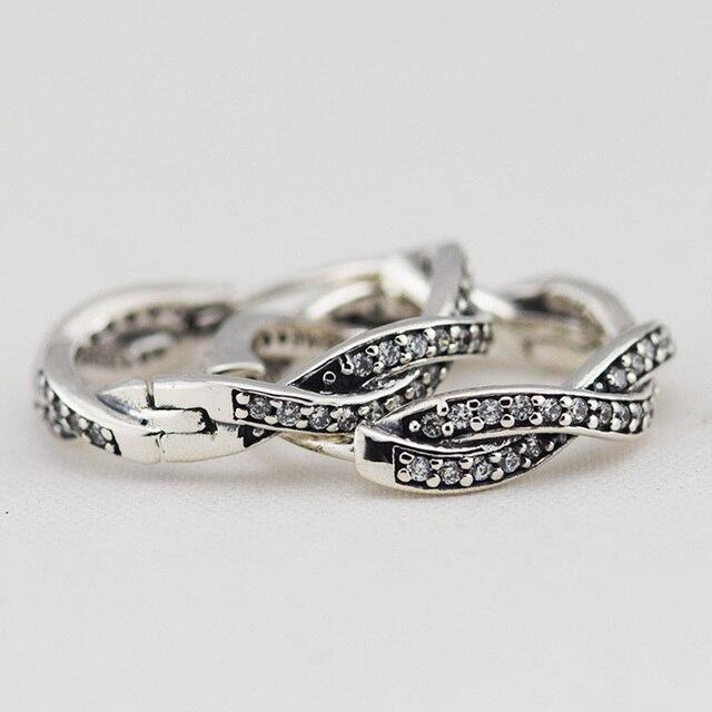 Pave CZ Braided Hoop Earrings 925 Sterling Silver Earrings For Women Brand DIY Fashion Jewelry