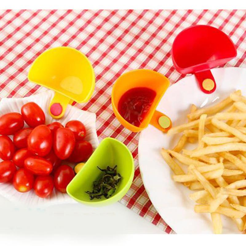 4pcs/lot NEW Assorted Salad Saucer Ketchup Jam Dip Clip Cup Bowl Saucer Cup Tableware Home Kitchen Accessories Tool