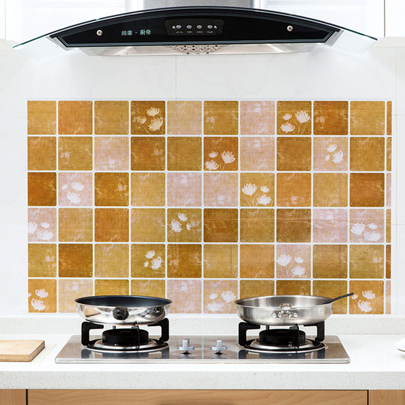 High quality Kitchen Waterproof wallpaper Self-adhesive stove anti-oil wall papers roll wallpaper Home Decor 0.6M * 1M