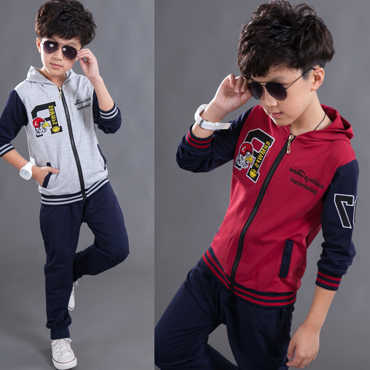 New 2016 children's cotton boy jacket and pants set new 2016