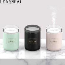 LEARNHAI Home Appliances Candle Humidifier Air Cleaner Portable Mini Car Aroma Diffuser With Colorful Led Night Light For