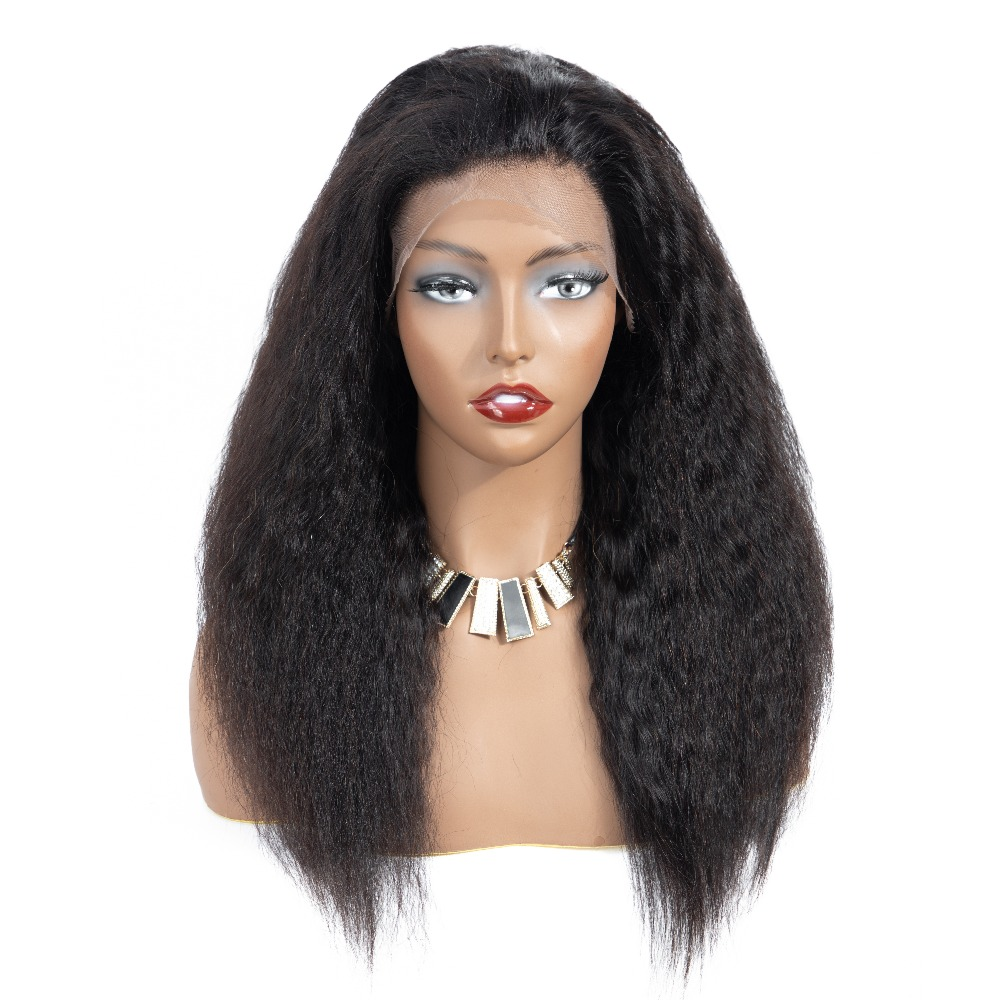 13x4 Lace Front Human Hair Wigs with Baby Hair Remy Kinky Straight Wigs Natural Hairline Brazilian