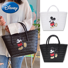 Disney Womens Tote-Bags 2019 Fashion Shoulder Weaving Shopping Bag Girl-Handbags Designer Big Capacity New Travel Beach