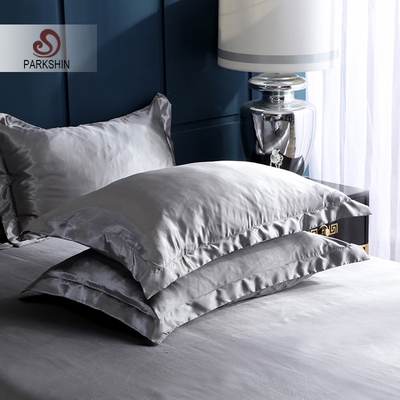 Parkshin 2019 Satin Silk Pillowcase Luxury Bed Healthy Cover Multicolor Queen King Pillow Case Home Textiles Bed Pillow Cover