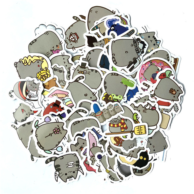 100pcs/set of fat cat Car Stickers Skateboard bike on Motorcycle Suitcase Home Decor Phone Laptop Covers DIY Y180740