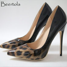 28c3a03bf5ec Beertola Sexy Black Leopard Pattern Super High Heels Pointed Toe Patent  Leather Woman Shoes Handmade Luxury Brand Model Shoes