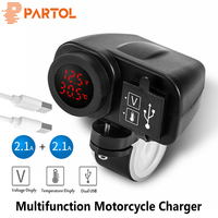 Partol Multifunction Motorcycle USB Charger LED Digital Voltmeter Thermometer 2.1A+2.1 For Charging GPS iPhone iPod PSP Phones