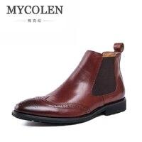 MYCOLEN Марка Челси Мужские ботинки Одежда высшего качества красивый удобный из натуральной кожи в стиле ретро Для мужчин зимние ботинки Sapatos