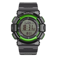 SUNROAD Men #8217 s Sports Digital Watches-Compass Barometer Altimeter Pedometer Green Clock Relogio Digital Wristwatches cheap Resin 23cm Hook Buckle 5Bar Auto Date Complete Calendar Stop Watch Chronograph Back Light Alarm 45mm FR822A Paper ROUND