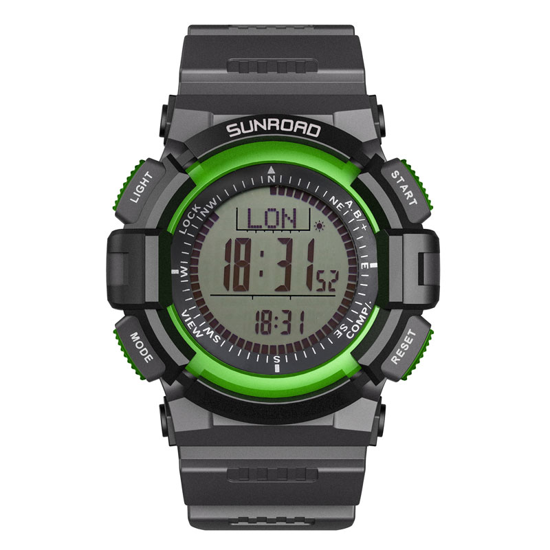 SUNROAD Sports Men Watch FR822A-Compass Barometer Watches Altimeter Pedometer New Arrival Green Clock Relogio Digital Watch Men sunroad 2018 new arrival outdoor men sports watch fr851 altimeter barometer compass pedometer sport men watch with nylon strap