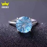 Sky Blue Topaz Gem Ring Genuine 925 Sterling Silver Rings 100 Natural Gemstones Platinum Plated Woman