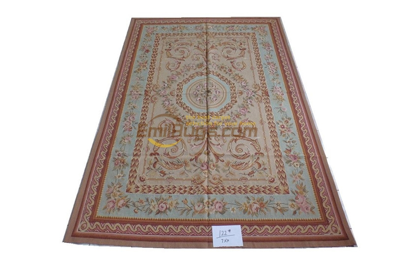 Tapis en laine français fait à la main réversible Antique décor Rectangle tapis Style Tribal