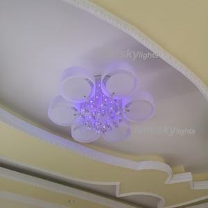 Image 4 - Plafonnier led en cristal, design moderne, design à la mode, luminaire de plafond interchangeable, abat jour blanc, idéal pour une chambre à coucher, une salle à manger ou une chambre à coucher