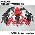 Fit para a Yamaha YZF R6 06 07 preto vermelho branco de moldagem por injeção carenagens da motocicleta conjunto YZFR6 2006 2007 BN22