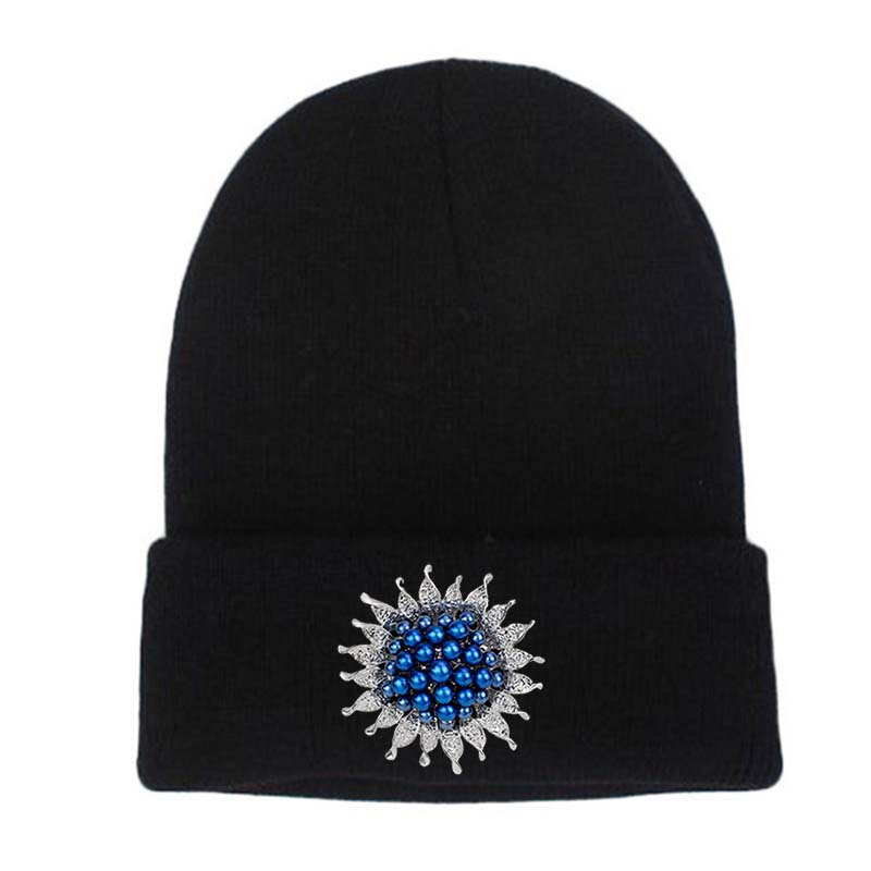 Women Winter Hats Knit Skullies Beanies Hat Pearl Decoration Outdoor Ski Cap Casual Girls Bonnet Gorros balaclava touca inverno skullies