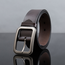 3.5cm width. 2017 New!Men's leisure belt with genuine leather classic pin buckle.Fashion charming matte jeans strap durable wear