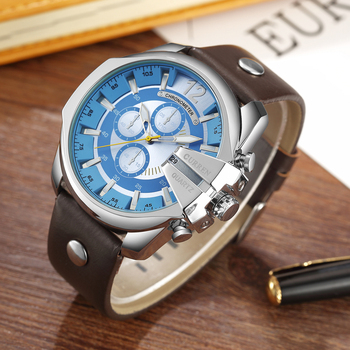 CURREN Men's Top Brand Luxury Leather Chronograph Calendar Date Display Quartz Watches 3